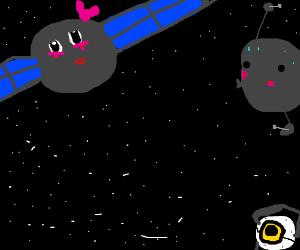 Space satellites prepare for kissing maneuver