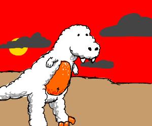 white fluffy t-rex with orange skin