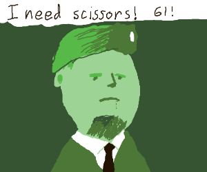 Colonel from MGS needs scissors! 61!