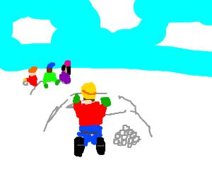 1kid team dastardly snowball plan vs 3kid team