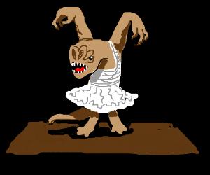 A (Star Wars) Rancor wearing a tutu