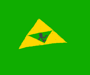 The Triforce with a dark figure inside