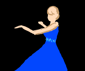 Invisible Man romancing girl in blue dress