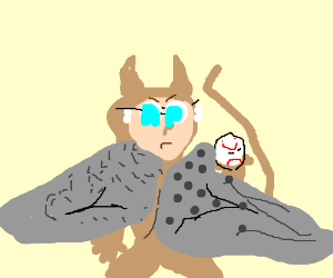 furry with (metal) wings holding a ball