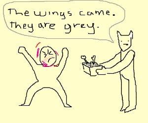 Tan demon with grey wings and angry man