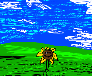 Colored Flowey infront of WinXP wallpaper