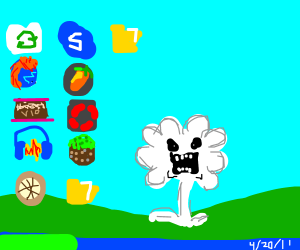 Evil Flowey on Win XP's default desktop