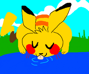 Pikachu drinking with his eyes closed.