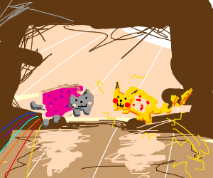 nyan cat and pika-cat