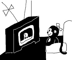 Monkey lady watches moon landing