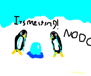 Penguins crying over ice