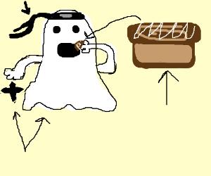 ninja ghost eating cinnamon roll