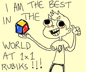 Man solves 1x1 Rubik's cube