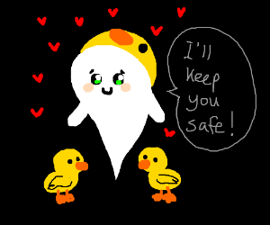 Cute ghost is very protective over ducklings.