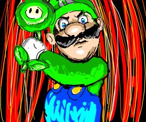 Luigi holds a green fire flower