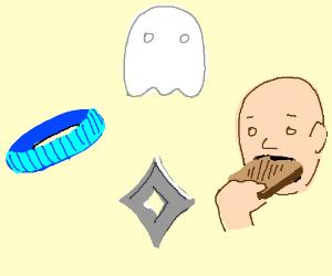 Ghost, headband, shurikin, eating toast