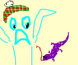 A cyan golfer is scared of a purple lizard.