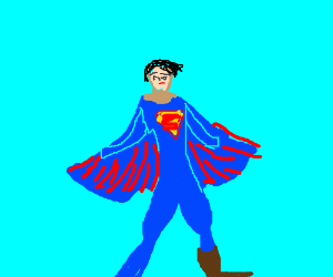 Superman wearing a boot