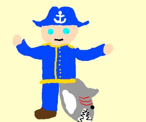 Sea captain with a shark for a leg