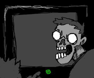 Zombies stare at black monitor in horror.