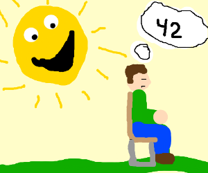 Man contemplate meaning of life as sun smiles
