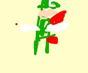 Luigi cuts himself with fireball from pwrup