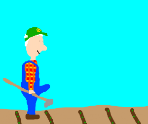 A farmer is impressed with his hard work