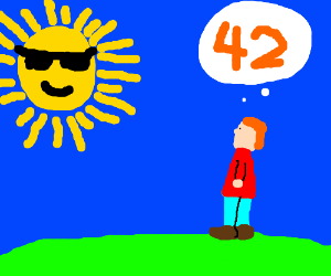 a man ignores the sun and thinks about 42