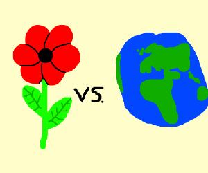 Red flower VS Earth