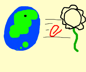 The Earth throws a red stapler at a flower.