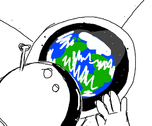 Astronaut looking down at Earth