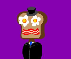 Dapper man has eggs, toast, bacon for a face