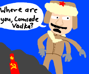 3-armed Russian looks for his Commie Vodka.