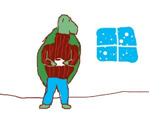 Turtle wears a turtleneck.