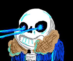 skeleton with laser eyes