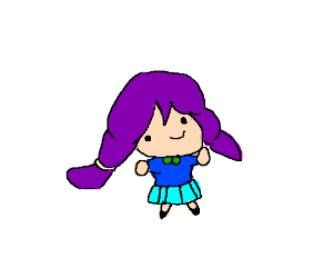 Tiny girl with purple hair
