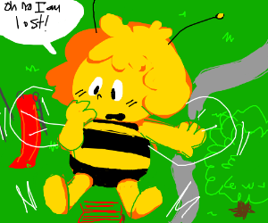 A bee girl is lost in a city park.