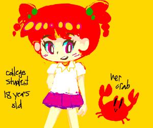 kawaii college girl and a crab