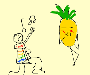 Man in colorful shirt sings to pineapple