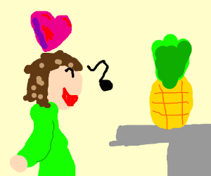 Man sings to his crush, who is a pineapple