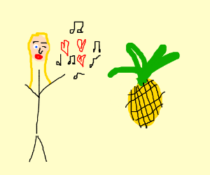 Woman seduces pineapple with music
