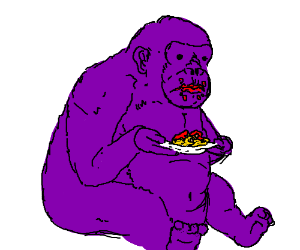 A Purple Gorilla Devouring All The Spaghetti Drawing By Neo Queen