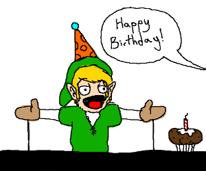 Link as a Muppet celebrating his B-day.