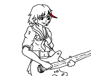 ryuko is the lead guitarist in a rock band