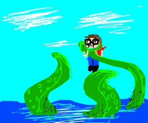 Tentacle from sea strangles Hipster