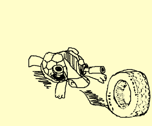 Blastoise gets run over by a lone tire