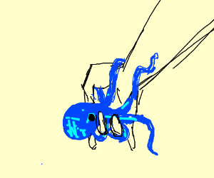 blue squid is hugging man's hand
