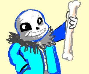 Sans holding a bone shank