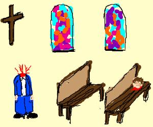Headless businessman in a church