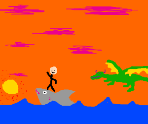 Riding shark into the sunset pursued by dragon